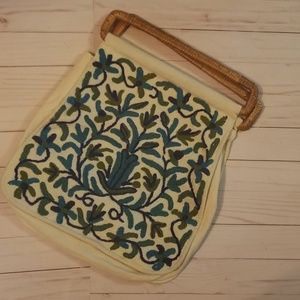 Vintage Hand embroidered sack purse